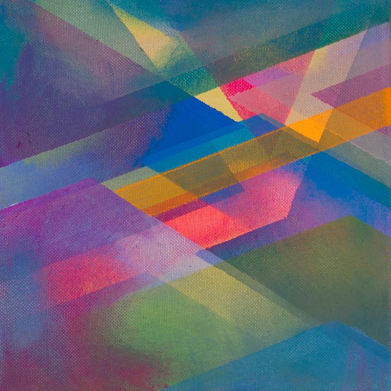 judithvaleria-geometrische Abstraktionen-Acryl auf Leinwand-20x20-'Lichtflug'