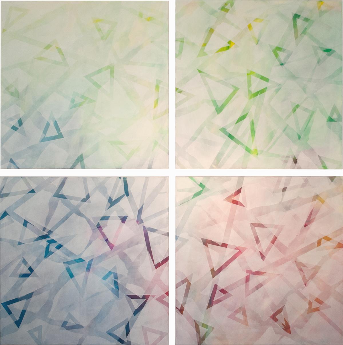 judithvaleria-geometrische Abstraktionen-Acryl auf Papier-je 100x100-eine art selbstportrait-Version 1