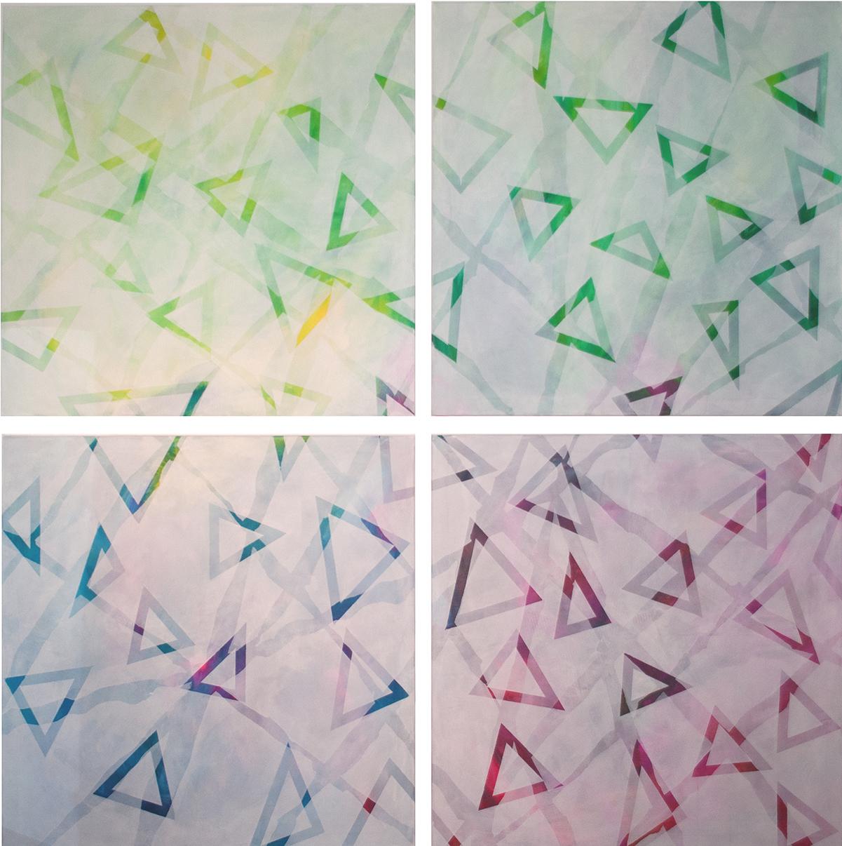 judithvaleria-geometrische Abstraktionen-Acryl auf Papier-je 100x100-eine art selbstportrait-Version 2